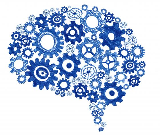 illustration of brain with gears